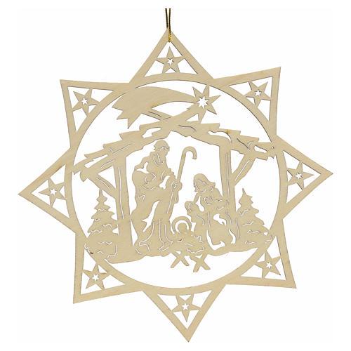 Weihnachtsschmuck Stern mit Krippe aus Holz 1