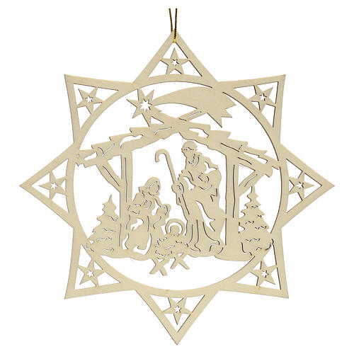 Weihnachtsschmuck Stern mit Krippe aus Holz 2
