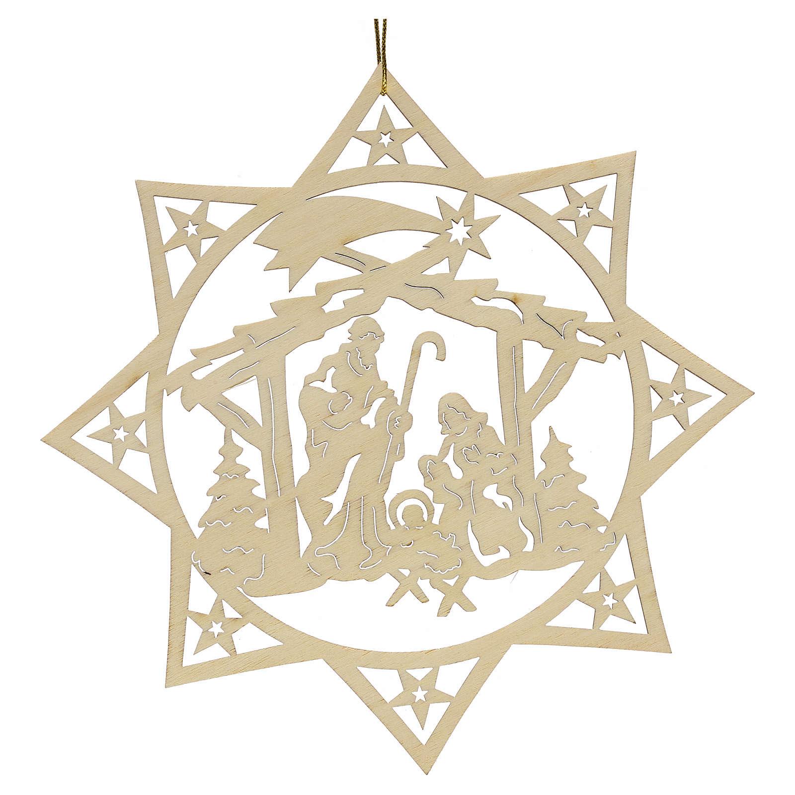 Ozdoba bożonarodzeniowa gwiazda drzewa z szopką drewno 4