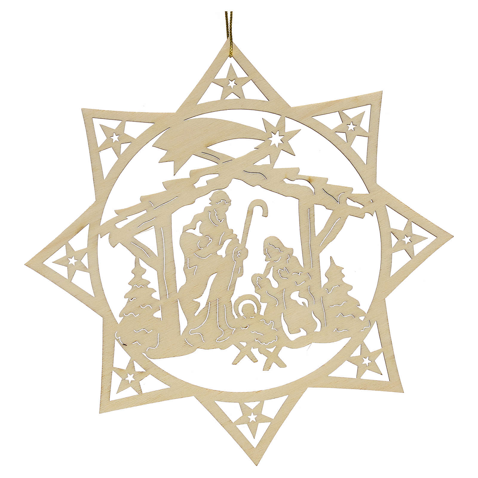Christmas decoration, wooden star with nativity 4