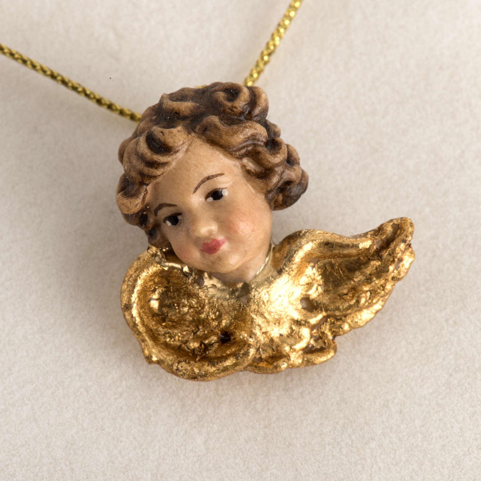 Testina angelo legno ali dorate in astuccio 4