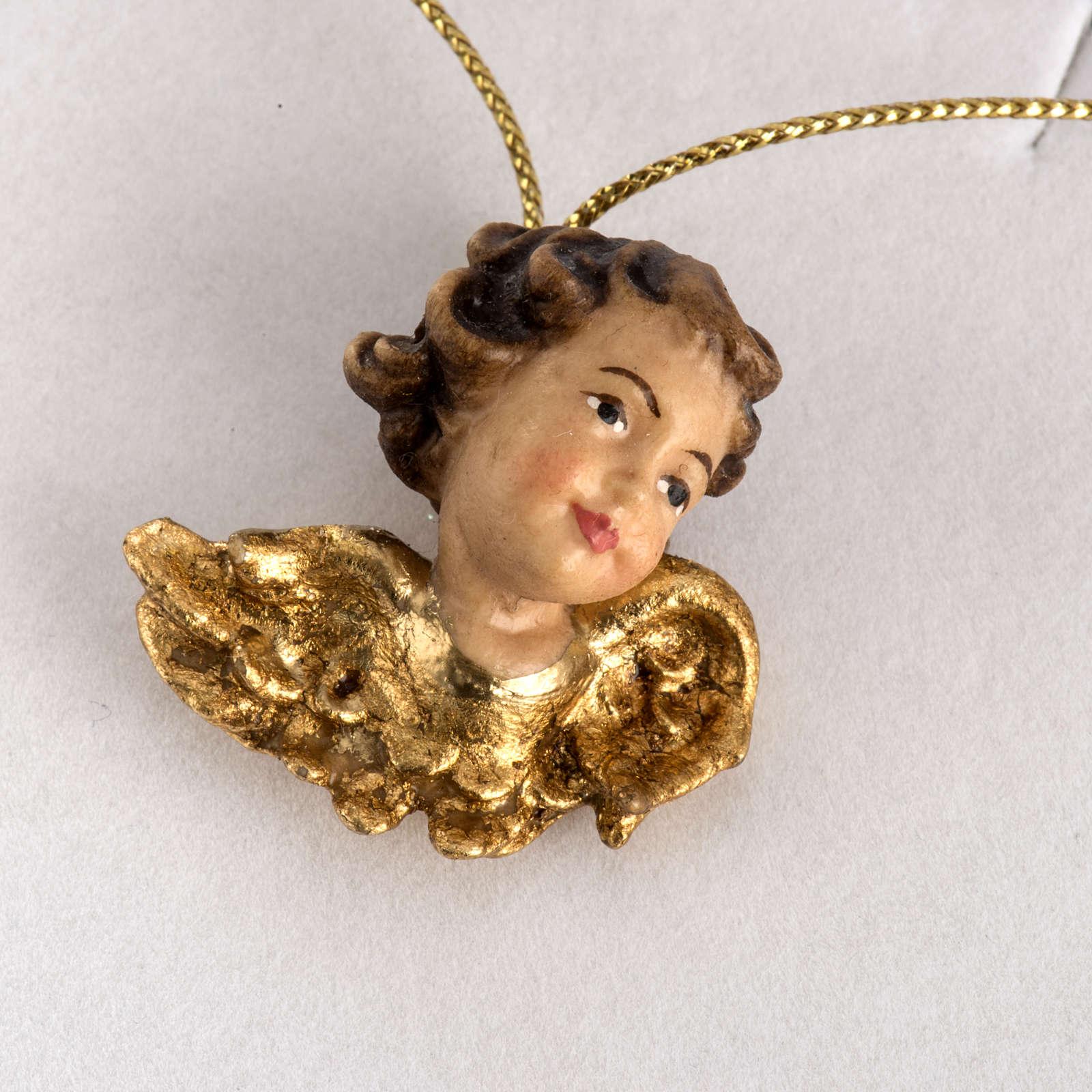 Cabecita de un ángel con alas de oro en caja de madera 4