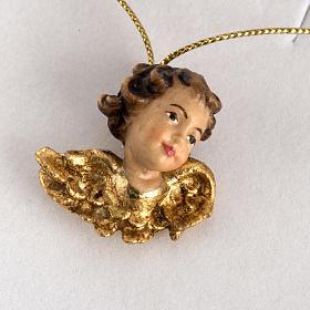 Cabecita de un ángel con alas de oro en caja de madera s2