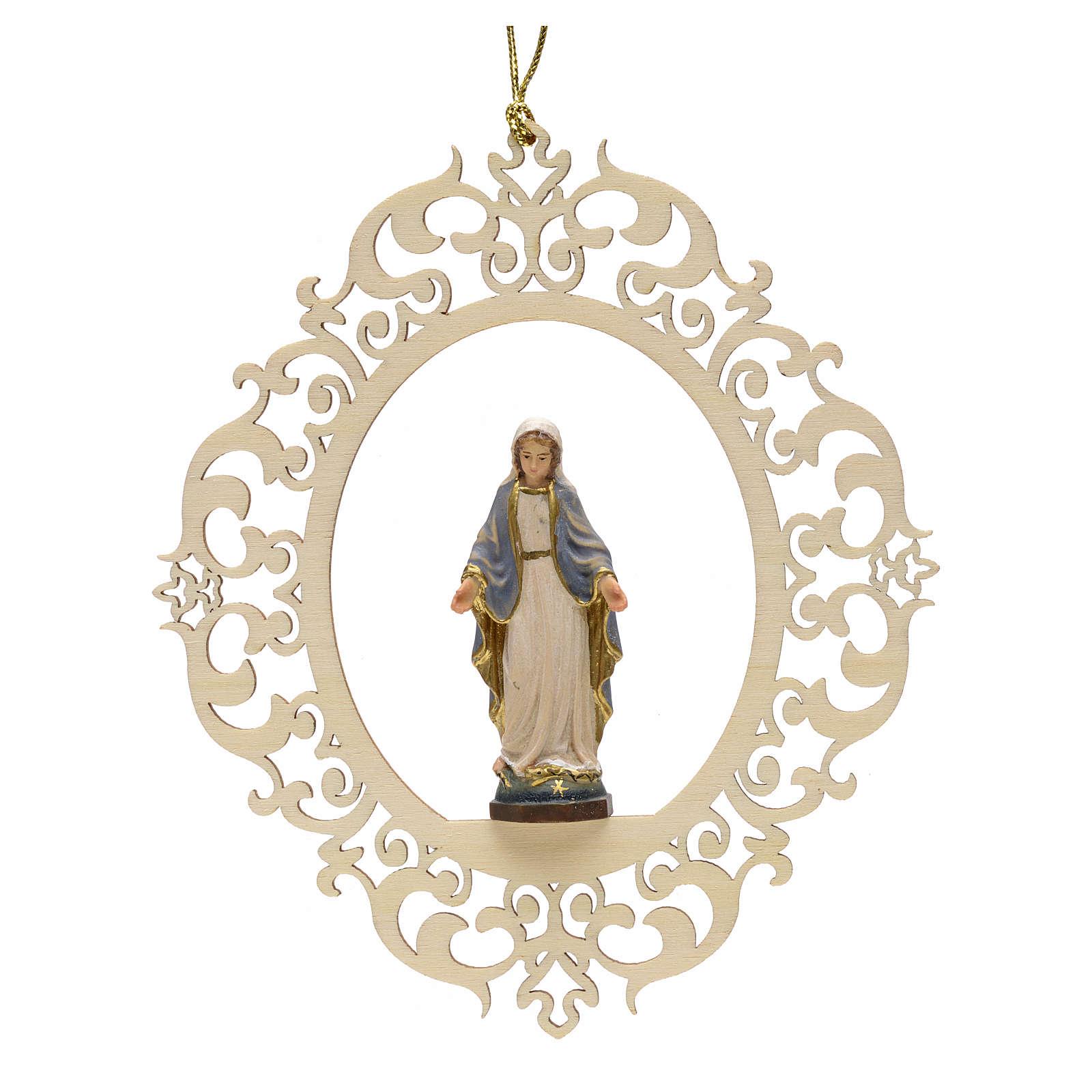 Decorazione albero Madonna delle Grazie legno intagliato 4