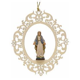 Decorazione albero Madonna delle Grazie legno intagliato s1