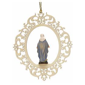 Decorazione albero Madonna delle Grazie legno intagliato s2