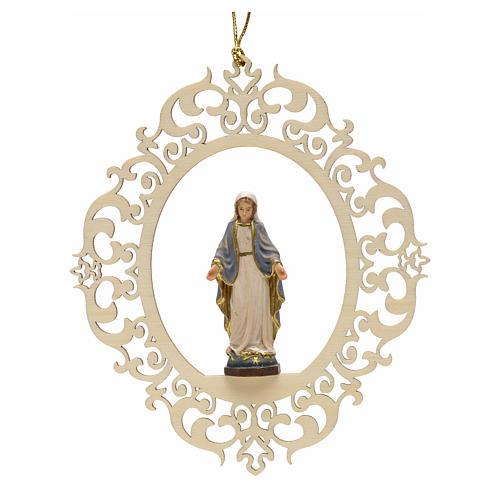 Decorazione albero Madonna delle Grazie legno intagliato 1