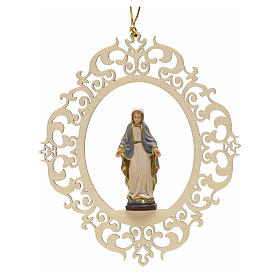 Christmas decor Our Lady of Graces engraved wood s1