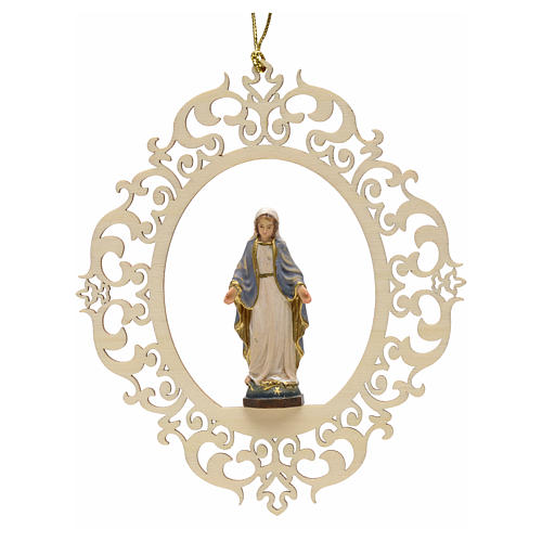 Christmas decor Our Lady of Graces engraved wood 1
