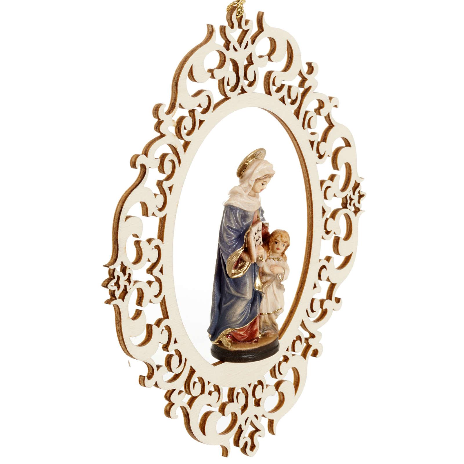 Decorazione albero Sant'Anna e Maria bambina legno 4