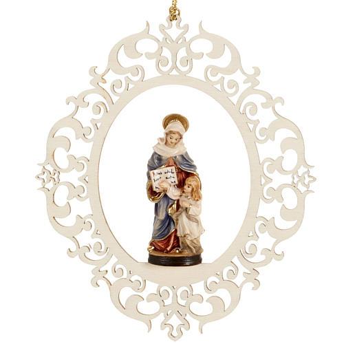 Decorazione albero Sant'Anna e Maria bambina legno 1