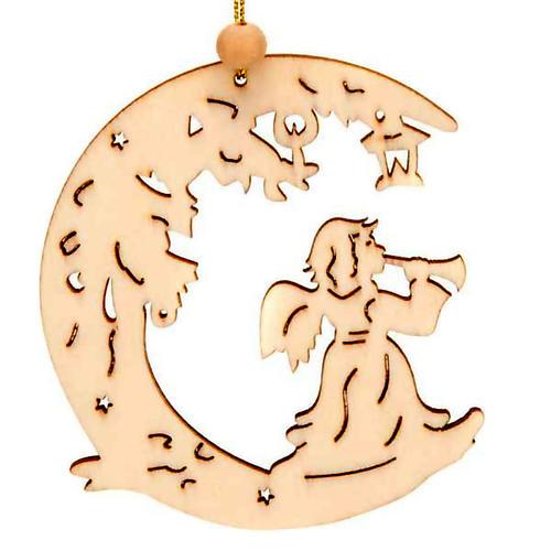 Decoración de Navidad para colgar ángel con luna 1