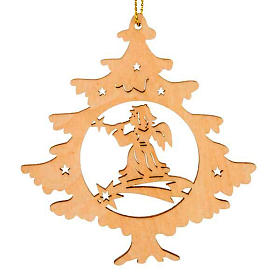 Ornement Noël sapin ange avec cor s1