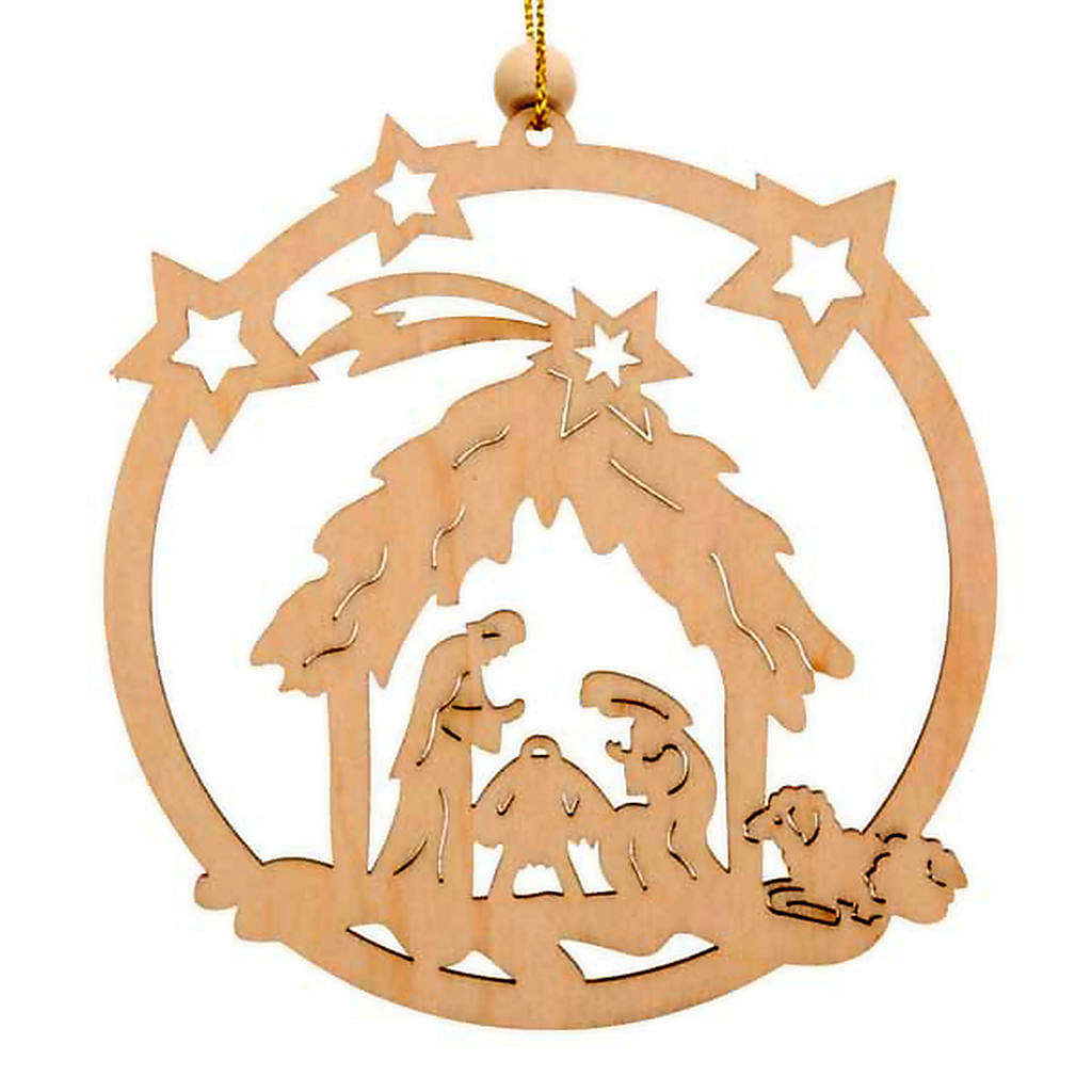 Christmas tree decoration, circle with stars and Holy Family 4
