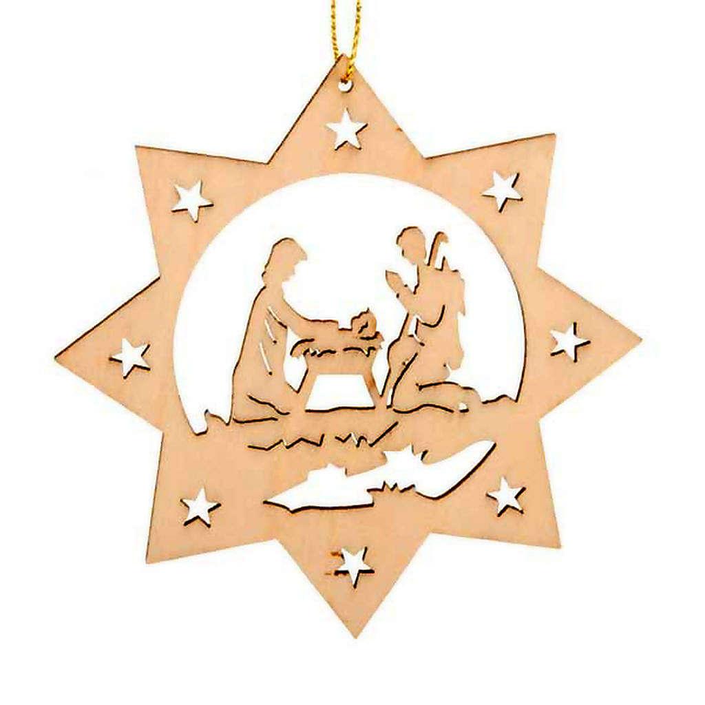 Decoro albero Natale stella 8 punte Sacra Famiglia 4