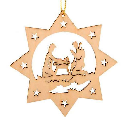 Decoro albero Natale stella 8 punte Sacra Famiglia 1