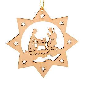 Enfeites para Árvore de Natal em Madeira e PVC: Enfeite para Natal estrela 8 pontas Sagrada Família