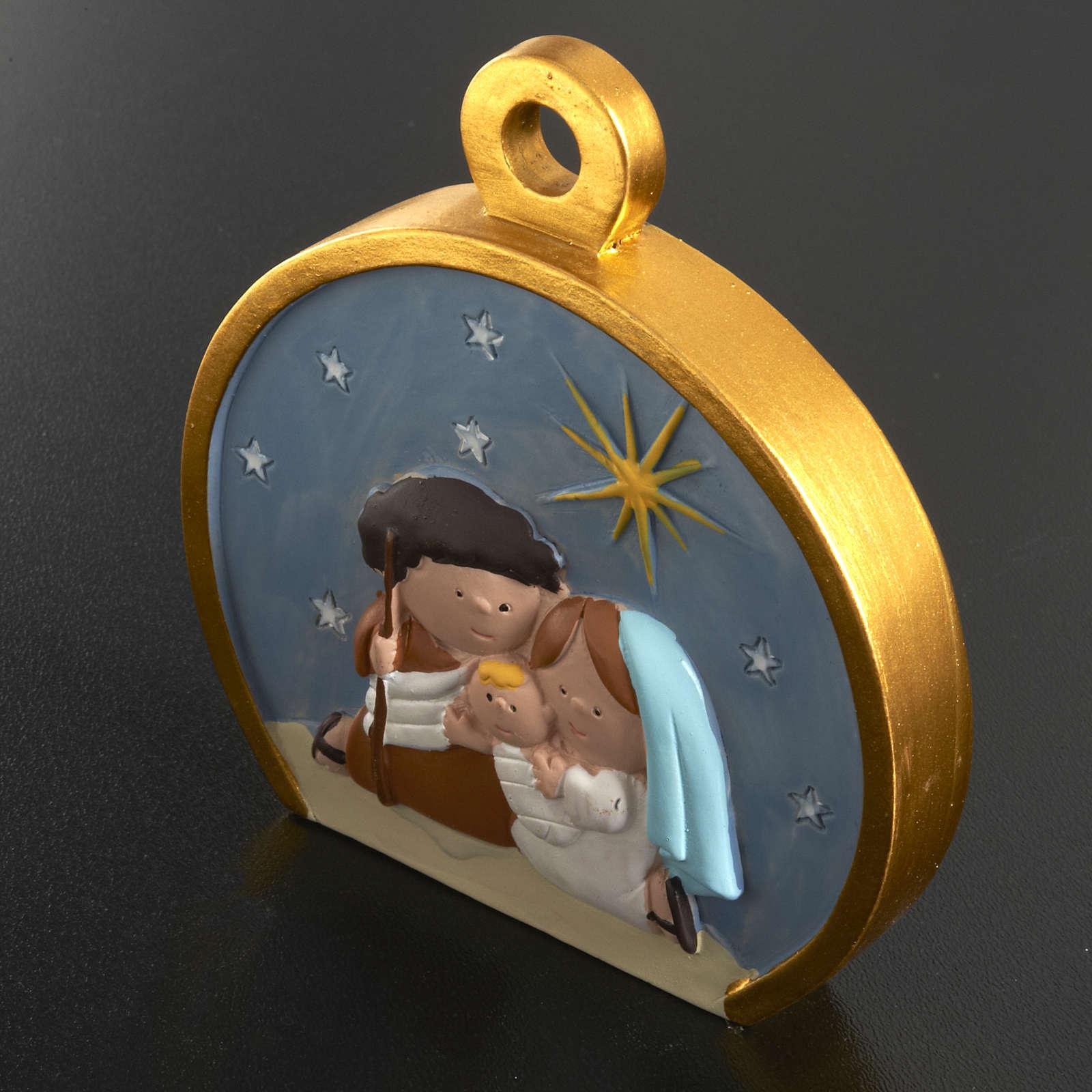Christmas tree decoration, stylised round nativity 4