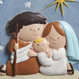 Christmas tree decoration, stylised round nativity s3