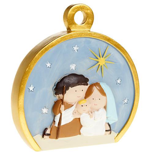 Christmas tree decoration, stylised round nativity 1