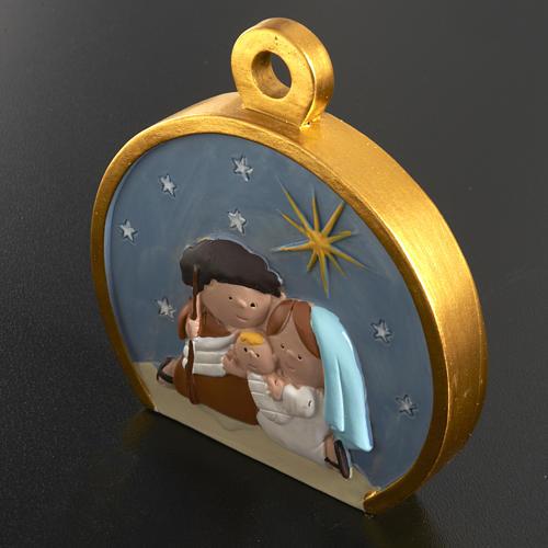 Christmas tree decoration, stylised round nativity 2