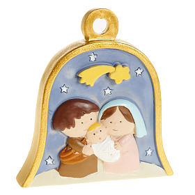 Christmas tree ornaments in wood and pvc: Christmas tree decoration, bell with stylised nativity