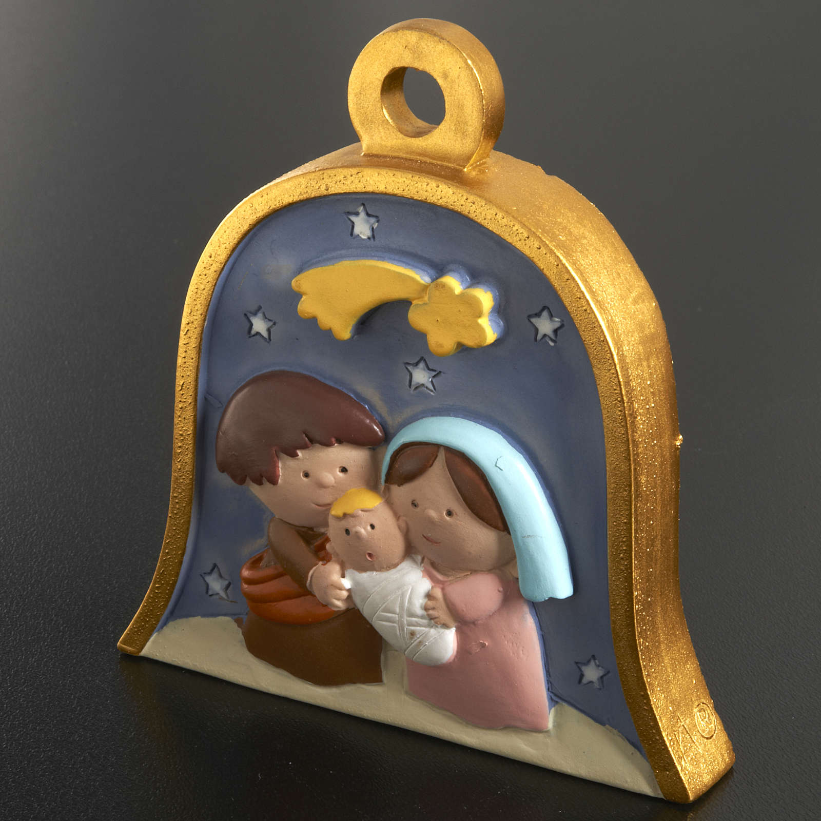 Christmas tree decoration, bell with stylised nativity 4