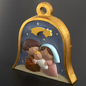 Christmas tree decoration, bell with stylised nativity s2