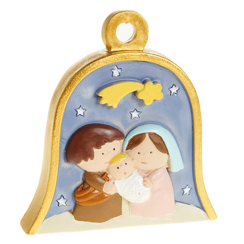 Christmas tree decoration, bell with stylised nativity 1