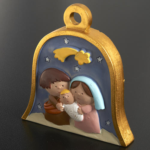 Christmas tree decoration, bell with stylised nativity 2