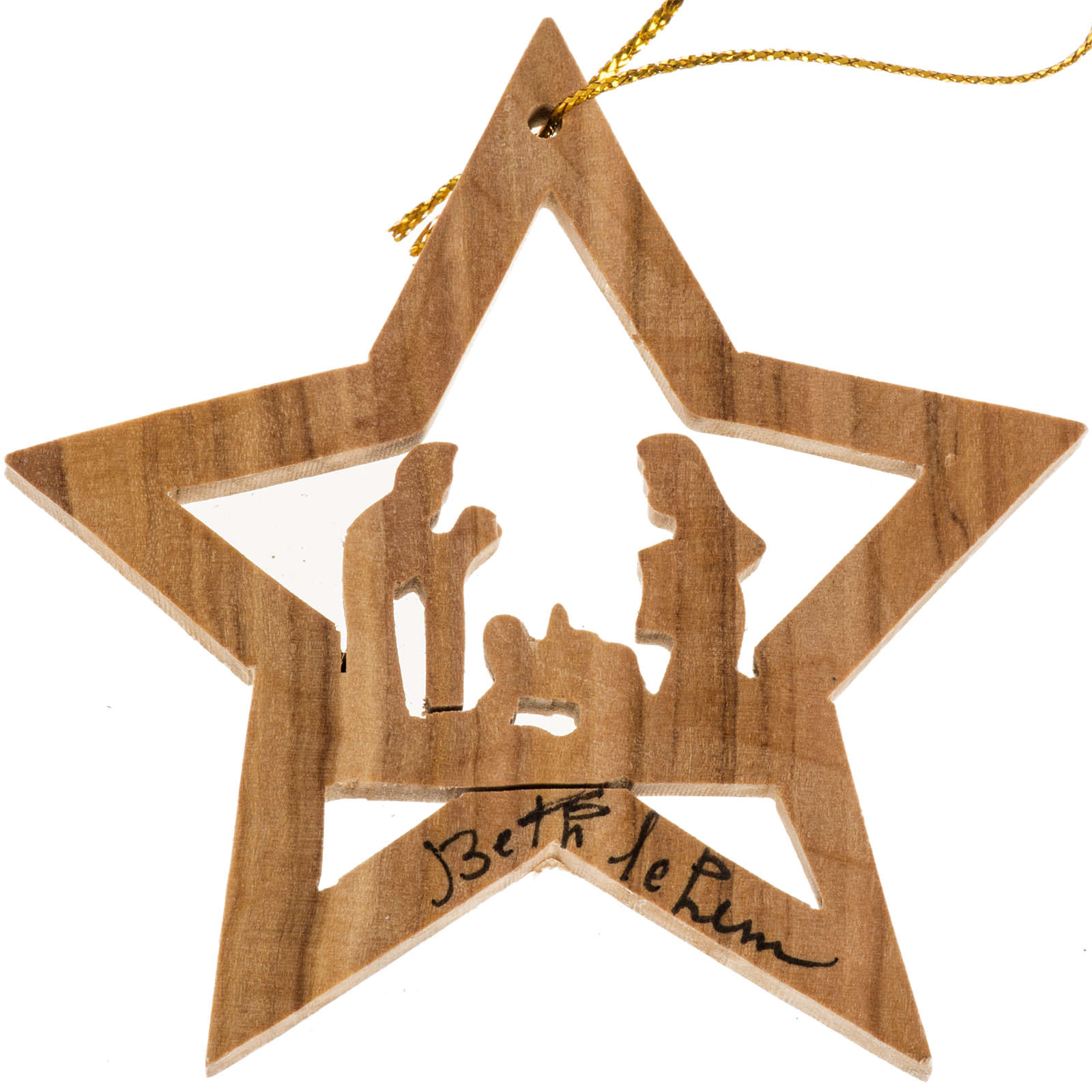 Adorno árbol madera olivo estrella con Nacimiento 4