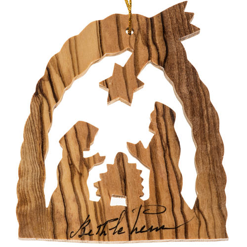 Christmas tree ornament Holy Land olive wood Nativity crib 1