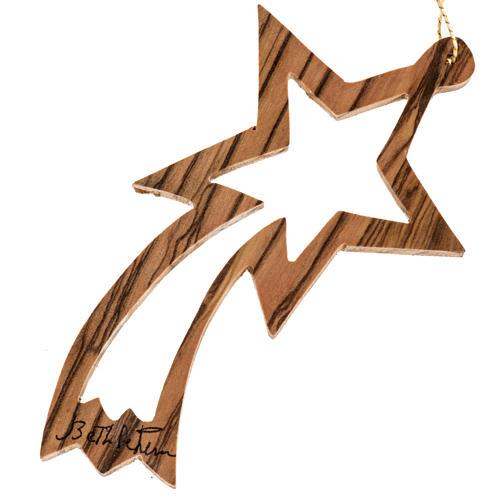 Addobbo albero legno ulivo Terrasanta stella cometa intagliata 1