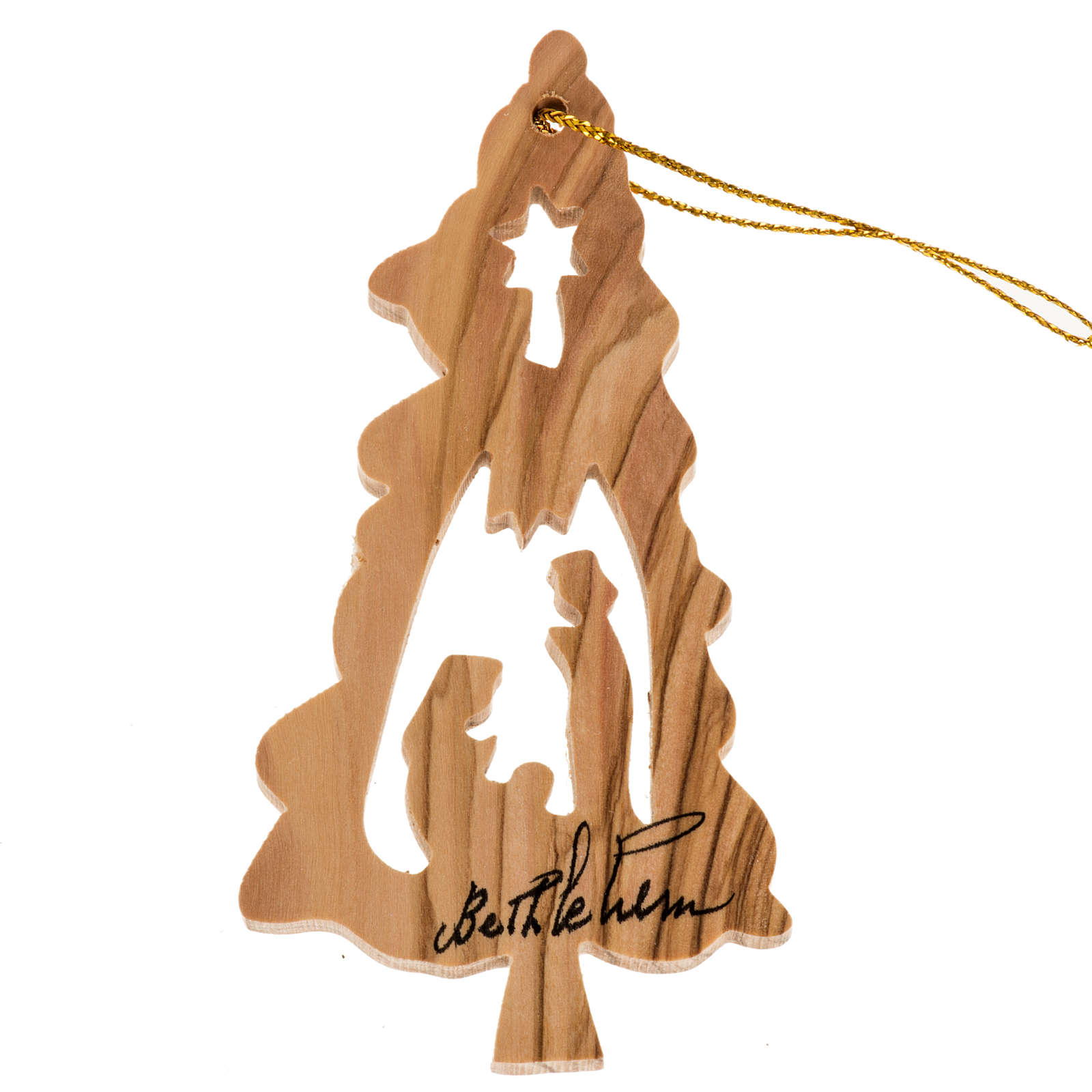 Hanging decoration fir shape with Nativity Holy Land olive wood 4