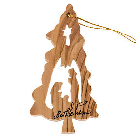 Hanging decoration fir shape with Nativity Holy Land olive wood s1