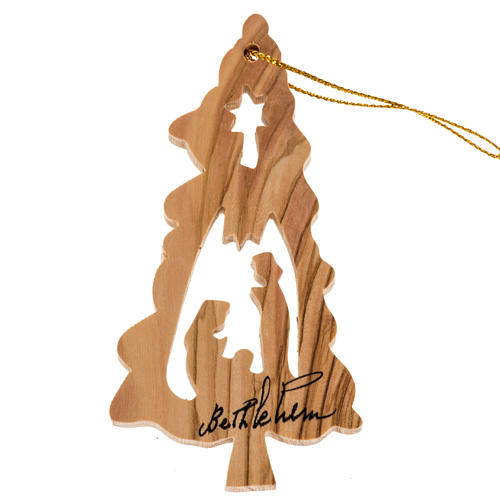Hanging decoration fir shape with Nativity Holy Land olive wood 1