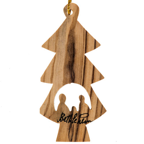 Christmas tree ornament fir and Nativity Holy Land olive wood 1
