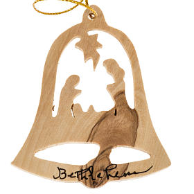 Christmas tree decoration, bell Bethlehem in Holy Land olive woo s1