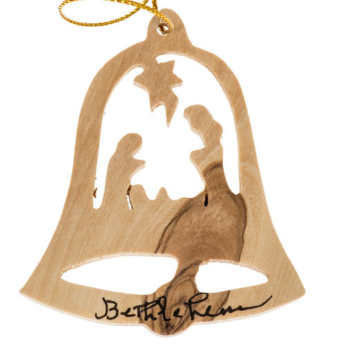 Christmas tree decoration, bell Bethlehem in Holy Land olive woo 1