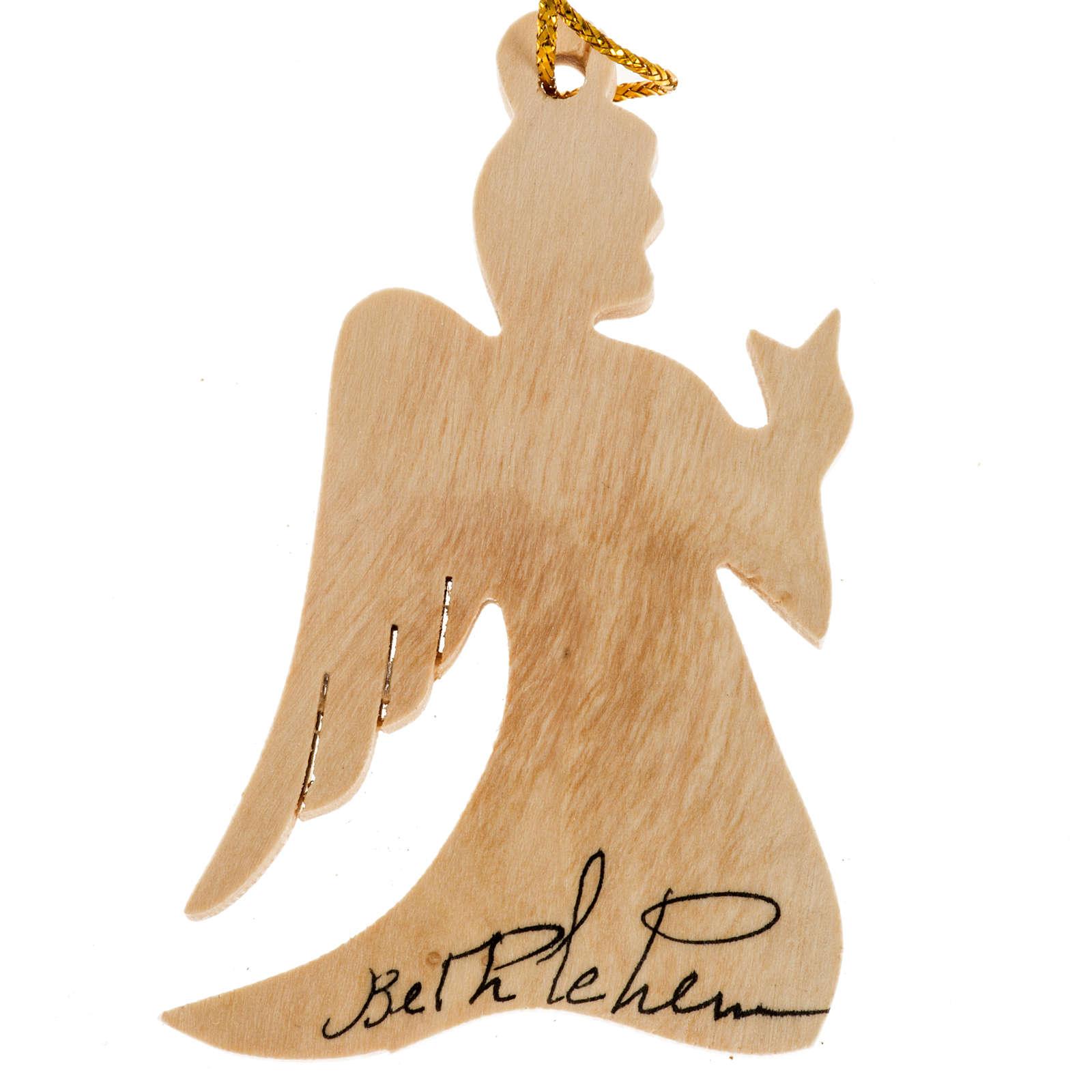 Addobbo albero legno olivo Palestina angelo 4