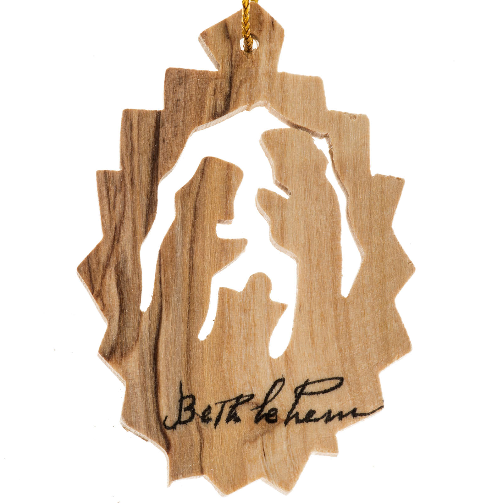 Christmas tree decoration, Nativity in olive wood from the Holy 4
