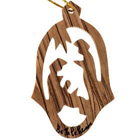 Christmas tree ornaments in wood and pvc: Christmas tree decoration, olive wood Nativity Palestine.