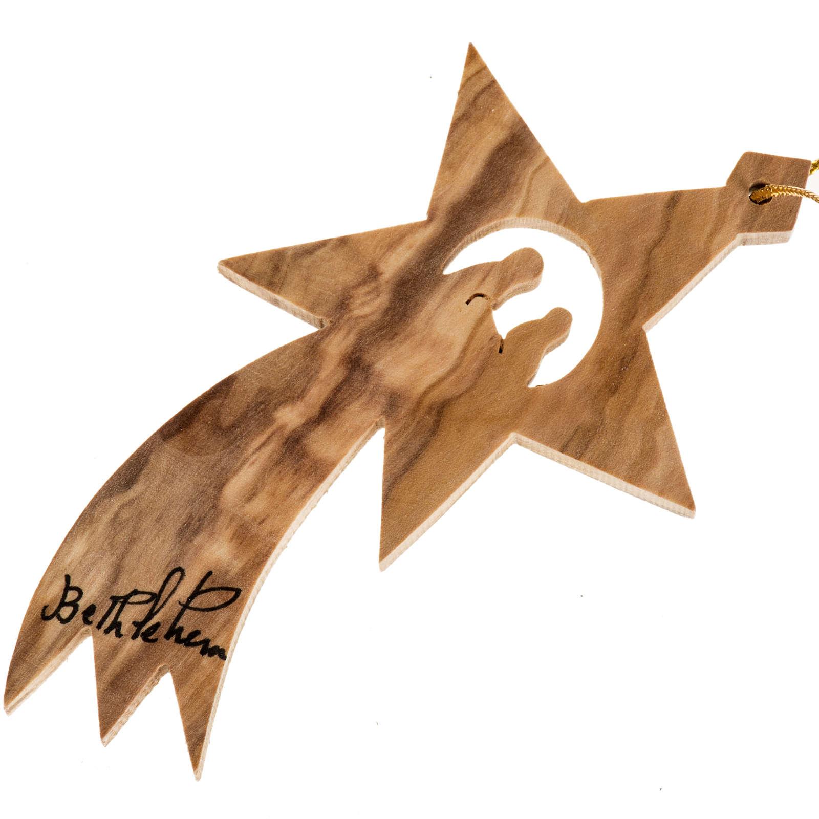 Adorno árbol madera olivo Palestina estrella de Belén 4