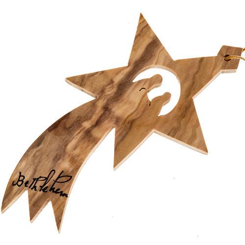 Adorno árbol madera olivo Palestina estrella de Belén 1