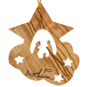 Christmas tree hanging, olive wood Nativity and stars Palestine s1