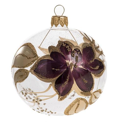 Pallina albero Natale trasparente decori oro viola 8cm 1