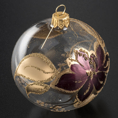 Pallina albero Natale trasparente decori oro viola 8cm 2