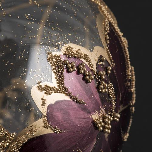 Pallina albero Natale trasparente decori oro viola 8cm 3