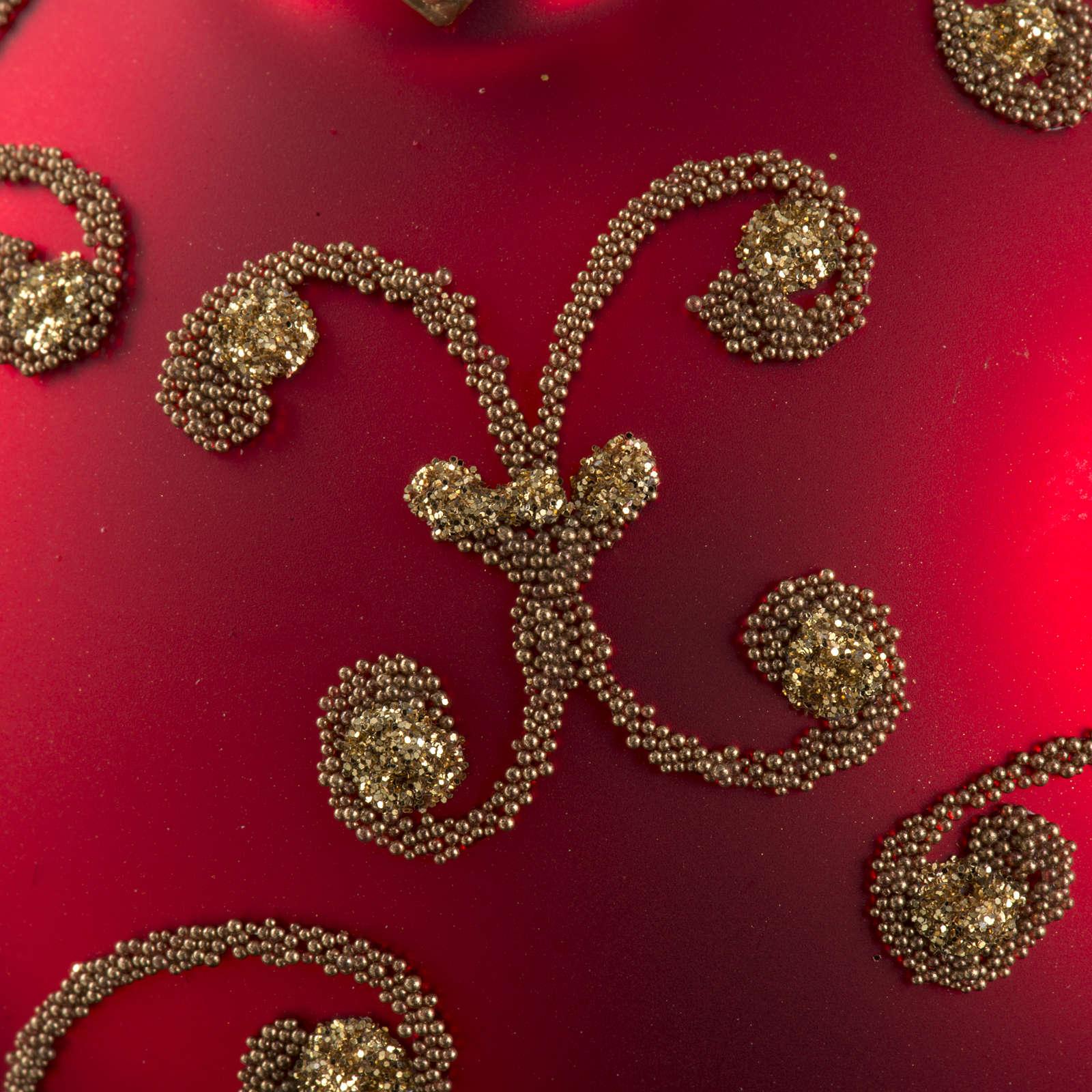 Pallina albero Natale rossa decori oro 8cm 4