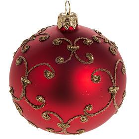 Pallina albero Natale rossa decori oro 8cm s1